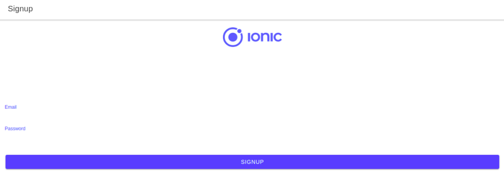 ionic firebase signup page