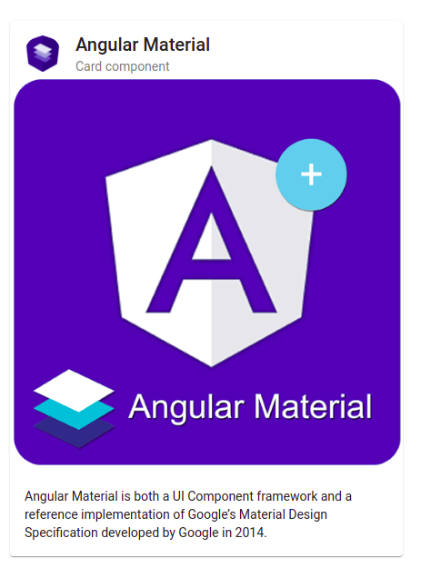 Angular material card with image